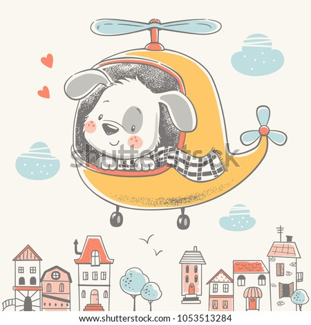 Cute puppy on a helicopter cartoon hand drawn vector illustration. Can be used for t-shirt print, kids wear fashion design, baby shower invitation card.