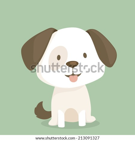 cute puppy sits  vector