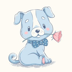 Cute puppy with a flower cartoon hand drawn vector illustration. Can be used for t-shirt print, kids wear fashion design, baby shower invitation card.