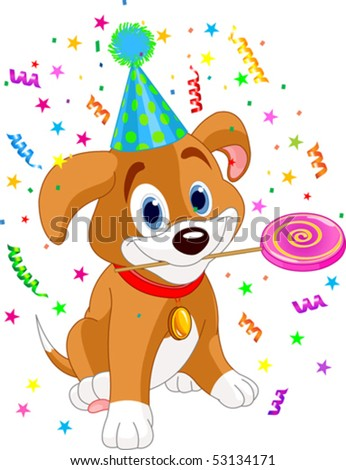 Cute Puppy with Party Hat  holding lollipop