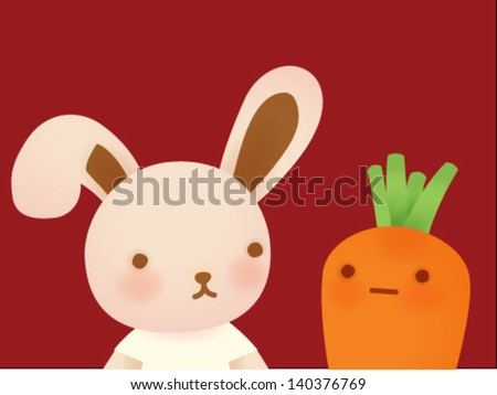 Cute Rabbit and Carrot Vector File EPS10