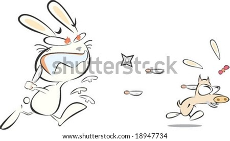 Cute Rabbit and Wild Boar Character isolated on white background : vector illustration