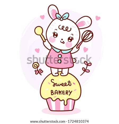 Cute rabbit cake vector Bunny cartoon sweet dessert pastel color (Kawaii food): Series Girly doodles pet zoo Kid bakery product fabulous fashion child décor cafe shop, Invitation post, t-shirt.