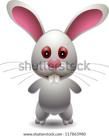 cute rabbit cartoon - stock vector