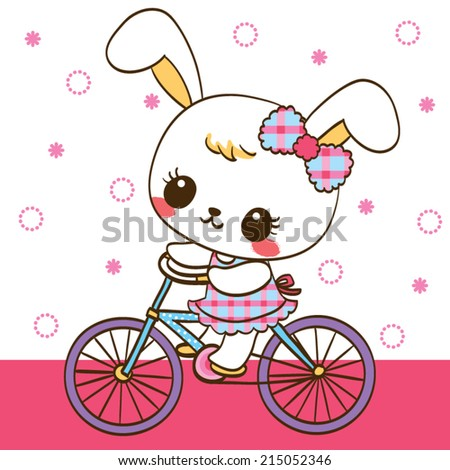 Cute rabbit cartoon ride bicycle