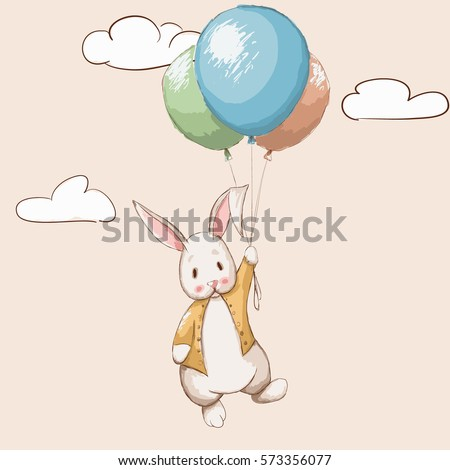 cute rabbit flying with
