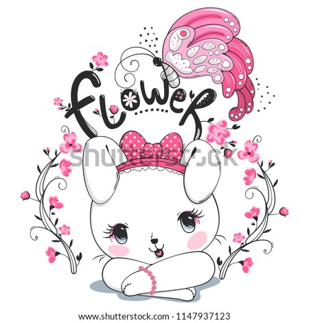 Cute rabbit girl and butterfly with flower on white background illustration vector.