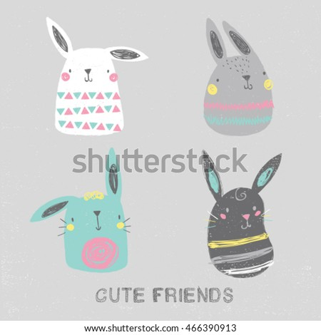 cute rabbit illustration set
