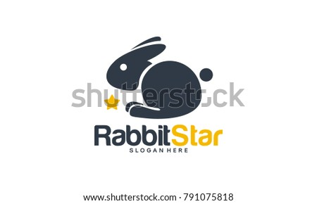 Cute Rabbit Logo designs concept, Rabbit Star logo template
