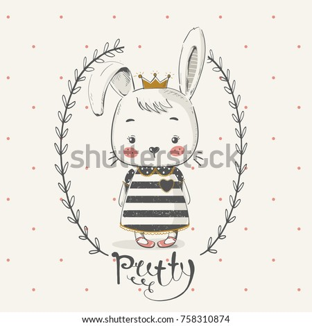 cute rabbit princess with crown.Cartoon hand drawn vector illustration. Can be used for baby t-shirt print, fashion print design, kids wear, baby shower celebration greeting and invitation card.