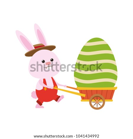 Cute rabbit pushing wheelbarrow with easter egg