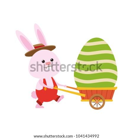 Cute rabbit pushing wheelbarrow with easter egg