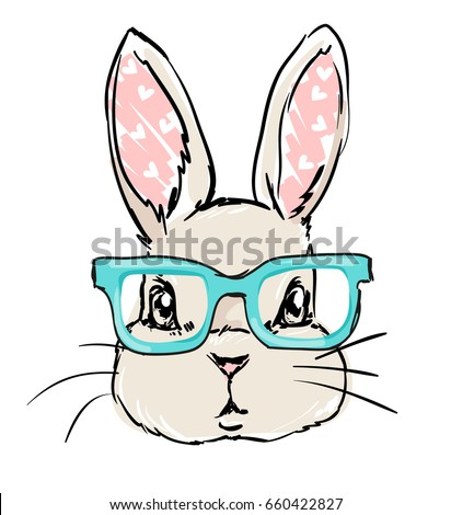 cute rabbit sketch vector