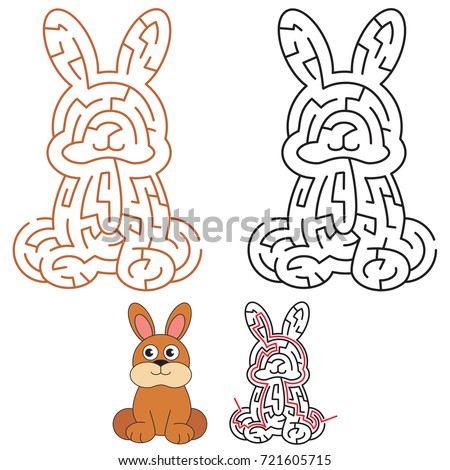 Cute Rabbit, the labyrinth simple horizontal maze for nerdy children. Search hidden way, the educational game for kids.