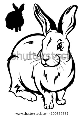 cute rabbit vector illustration - black and white outline and silhouette