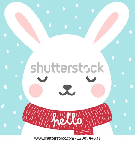Stock Photo Cute rabbit winter theme card, easter or christmas bunny face background, vector illustration
