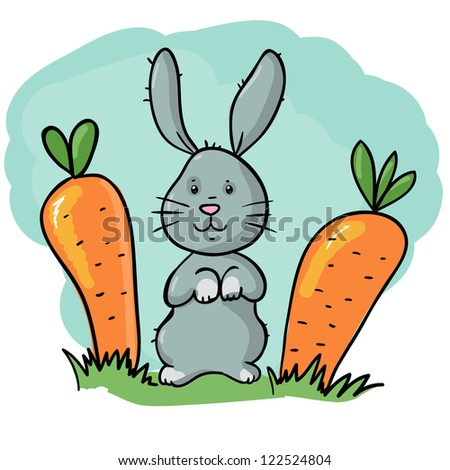 cute rabbit with two carrots