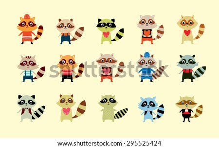 cute raccoon boy vector set