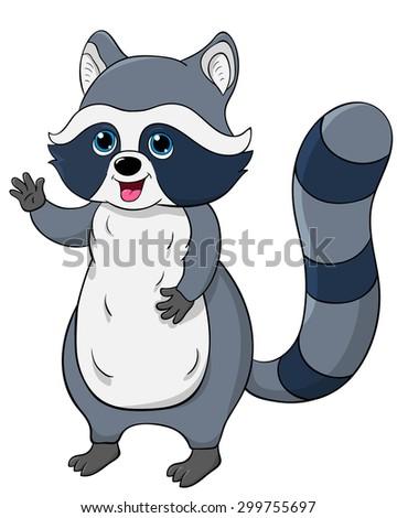 cute raccooncartoon vector