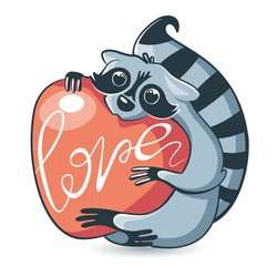 cute raccoon hugs a huge, red heart. Cartoon animal. Love concept, valentines day. Vector