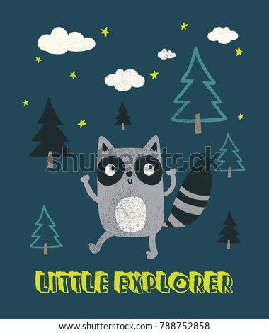 Stock Photo cute raccoon illustration as vector for kids fashion