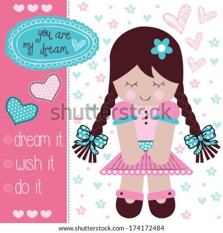 cute rag doll vector