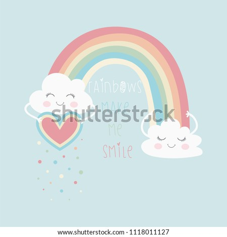 cute rainbow and fashion slogan