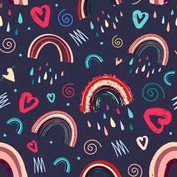Cute rainbow and heart romantic seamless pattern. Bright pattern for Valentine's Day. illustration in a fashionable Scandinavian style. Vector