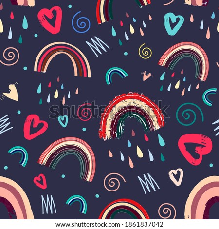 cute rainbow and heart romantic