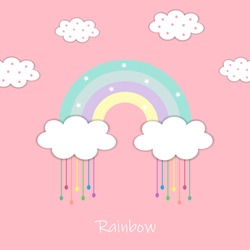 Cute rainbow and white clouds with colorful water droplets isolated on pink pastel background.Design for print or screen backdrop ,tile ,wallpaper or card.Rainy day.Sweet dream.Vector.Illustration.