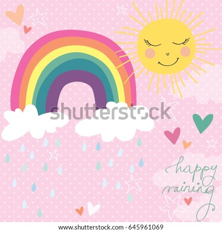 Cute Rainbow Clouds Sun Raining Pastel Spring Vector Illustration