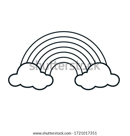 Cute Rainbow Coloring Page Vector Illustration on White