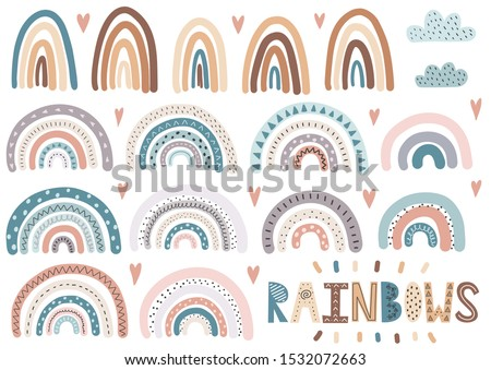 Cute rainbows, clouds, hearts collection. Isolated elements set. Scandinavian style clipart for modern prints, greeting cards, posters, wall art. Vector illustration