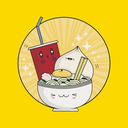 Cute Ramen Noodle Kawaii. Sushi restaurant poster of Japanese food. Vector illustration.