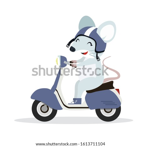 cute rat mouse on motorcycle