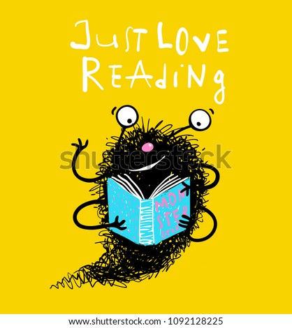 cute reading book monster