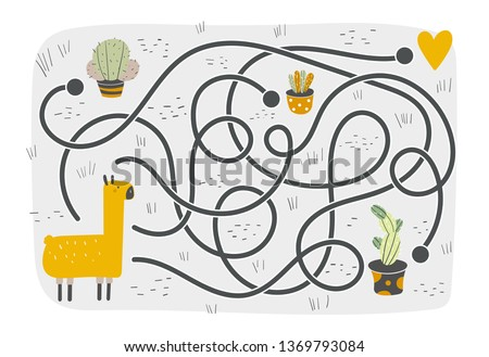 Cute rebus, test, activity, logic quest for kids. Funny labyrinth, puzzle with lama, cactus, heart. Find exit from the maze challenge.