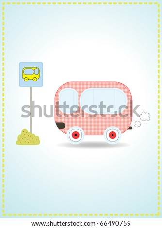 Cute red bus. Vector illustration