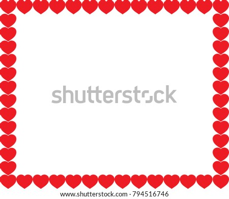 Cute red cartoon hearts love border with space for text or image inside isolated on white background. Vector full-framed valentines or wedding template, photo frame. #794516746