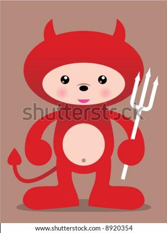 cute red devil vector manga