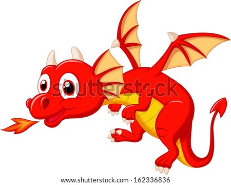 cute red dragon flying