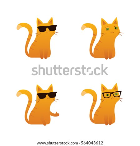 Cute red ginger cat vector illustration sunglasses wayfarer thumbs up
