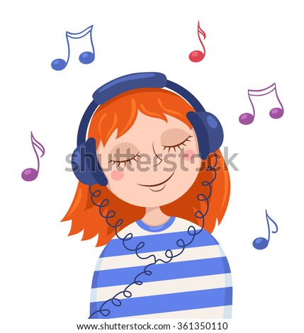 cute red girl listens to music