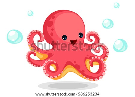 Cute red octopus cartoon vector