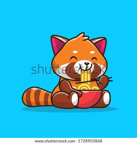 cute red panda eating ramen