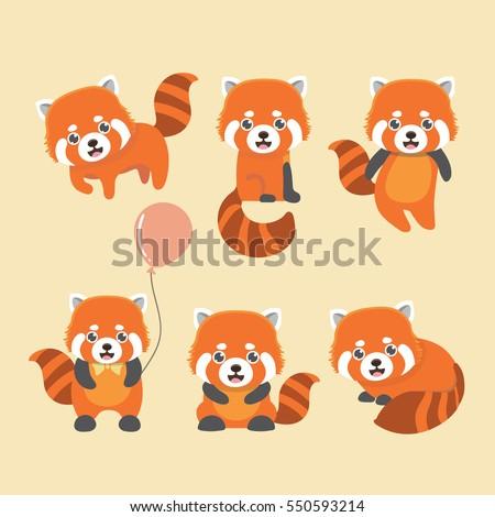 cute red panda on yellow