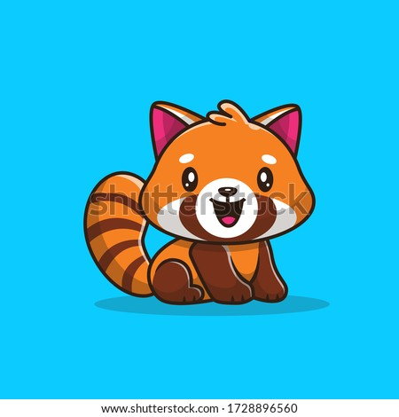 cute red panda vector icon