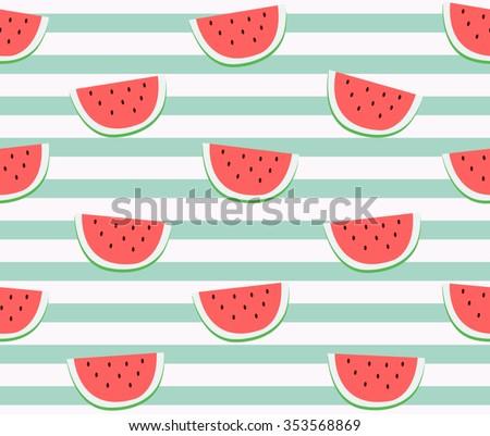 Cartoon Watermelon Vector Pattern