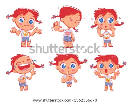 Cute redhead pigtailed girl with different emotions. Emoji Stickers Emotions. Funny cartoon colorful character. Set. Isolated on white background. Vector illustration