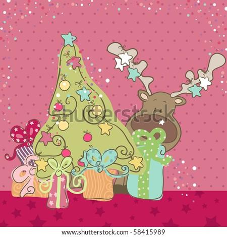 cute reindeer hiding behind christmas tree